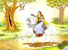 Signora di Elven sul cavallo bianco Immagine Stock Libera da Diritti