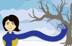 Signora di inverno nella vista del ritratto Immagini Stock Libere da Diritti