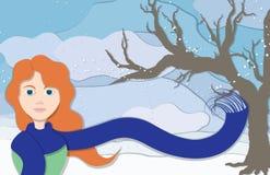 Signora di inverno nella vista del ritratto Immagini Stock