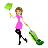 Signora di pulizia Immagini Stock
