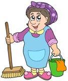 Signora di pulizia del fumetto illustrazione vettoriale