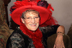 Signora di Red Hat Fotografia Stock Libera da Diritti