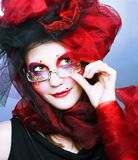 Signora di Yound in vetri Fotografia Stock Libera da Diritti