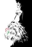 Signora e un fiore Fotografie Stock Libere da Diritti