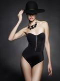 Signora elegante in cappello Immagine Stock Libera da Diritti