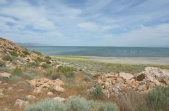 Signora Finger Point Trail e Gran Lago Salato Immagini Stock Libere da Diritti