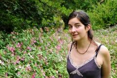 Signora With Flowers Immagini Stock Libere da Diritti