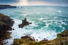 Signora irlandese alla baia Cornovaglia di Sennen Fotografia Stock Libera da Diritti