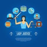 Signora Justice Concept Icons Immagine Stock
