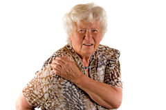 Signora maggiore con dolore della spalla Fotografia Stock