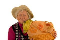 Signora maggiore con il cappello Fotografia Stock Libera da Diritti
