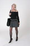 Signora matura con il grande sacchetto Fotografia Stock Libera da Diritti