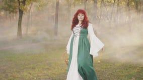 Signora misteriosa di fiaba cammina attraverso una foresta nebbiosa, una foschia bianca e spessa penetranti dai raggi luminosi de video d archivio