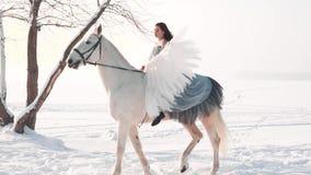 Signora mora sveglia attraente in un vestito d'annata grigio lungo con le spalle nude si siede a cavallo di un cavallo, con confi archivi video