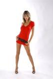 Signora nel colore rosso fotografie stock libere da diritti