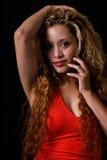 Signora nel colore rosso Fotografia Stock Libera da Diritti