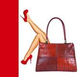 Signora nel colore rosso. Fotografia Stock