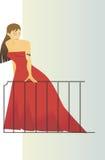 Signora nel colore rosso Immagine Stock