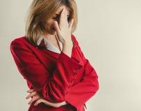 Signora nel guasto rosso del rivestimento Fotografie Stock