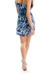 Signora nella camminata del vestito floreale Immagine Stock Libera da Diritti