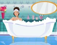 Signora nella vasca Fotografie Stock Libere da Diritti