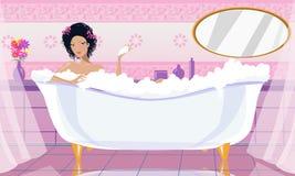 Signora nella vasca Fotografia Stock Libera da Diritti