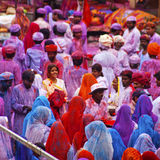 Signora nella viola, coperta in pittura sul festival di Holi, Fotografie Stock