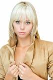 Signora in oro fotografia stock
