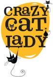 Signora pazza del gatto illustrazione di stock