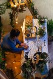Signora prende le disposizioni dei fiori nell'inverno fotografia stock libera da diritti