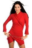 Signora In Red Immagine Stock