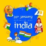 Signora in saree tricolore della bandiera indiana per il giorno felice della Repubblica del 26 gennaio dell'India illustrazione di stock