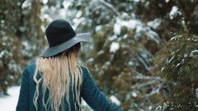 Signora seducente in cappello e cappotto verdi cammina intorno alla foresta dell'inverno e tocca gli alberi Gli sguardi e le pose stock footage