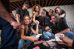 Signora Shows Winning Hand del gruppo del motociclista Fotografia Stock Libera da Diritti