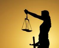 Signora Silhouettes della giustizia Fotografia Stock