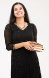 Signora sorridente con i libri Fotografie Stock Libere da Diritti