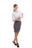 Signora sorridente dell'ufficio con il taccuino Immagini Stock