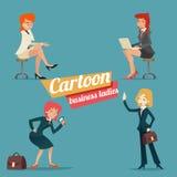 Signora sorridente felice Characters Set della donna di affari Immagini Stock