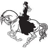 Signora su un bianco del nero del cavallo Fotografia Stock