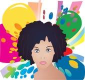 Signora sulla priorità bassa di colore Fotografia Stock