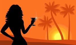 Signora sulla spiaggia royalty illustrazione gratis