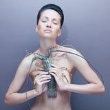 Signora surreale con l'aragosta Fotografia Stock Libera da Diritti