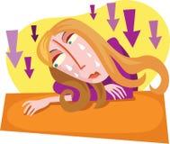 Signora sveglia depressa Immagine Stock