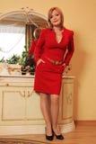 Signora in un vestito vicino alla tavola di condimento immagini stock