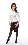 Signora in vestito di affari, isolato su bianco Fotografia Stock