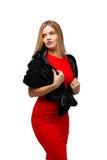 Signora in vestito rosso Fotografie Stock