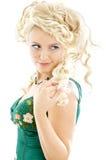 Signora in vestito verde smeraldo Fotografia Stock Libera da Diritti