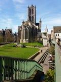 SIGNORE, BELGIO 03 25 San 2017 Nicholas Church Sint-Niklaaskerk nel centro urbano storico di Gand fotografia stock libera da diritti