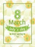Signore giorno amore primavera stampa di calligrafia dell'8 marzo Fotografia Stock