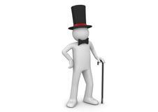 Signore/nobleman in cappello superiore con il bastone da passeggio Fotografia Stock